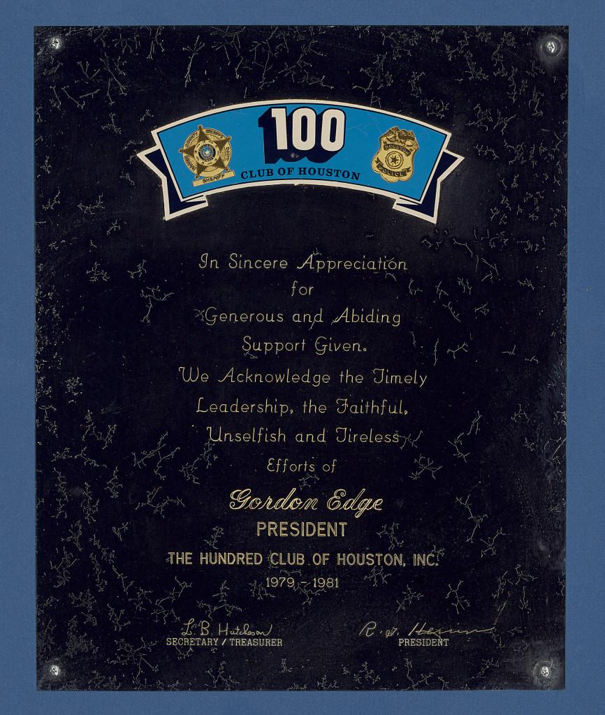 Gordon Edge 100 Club Plaque