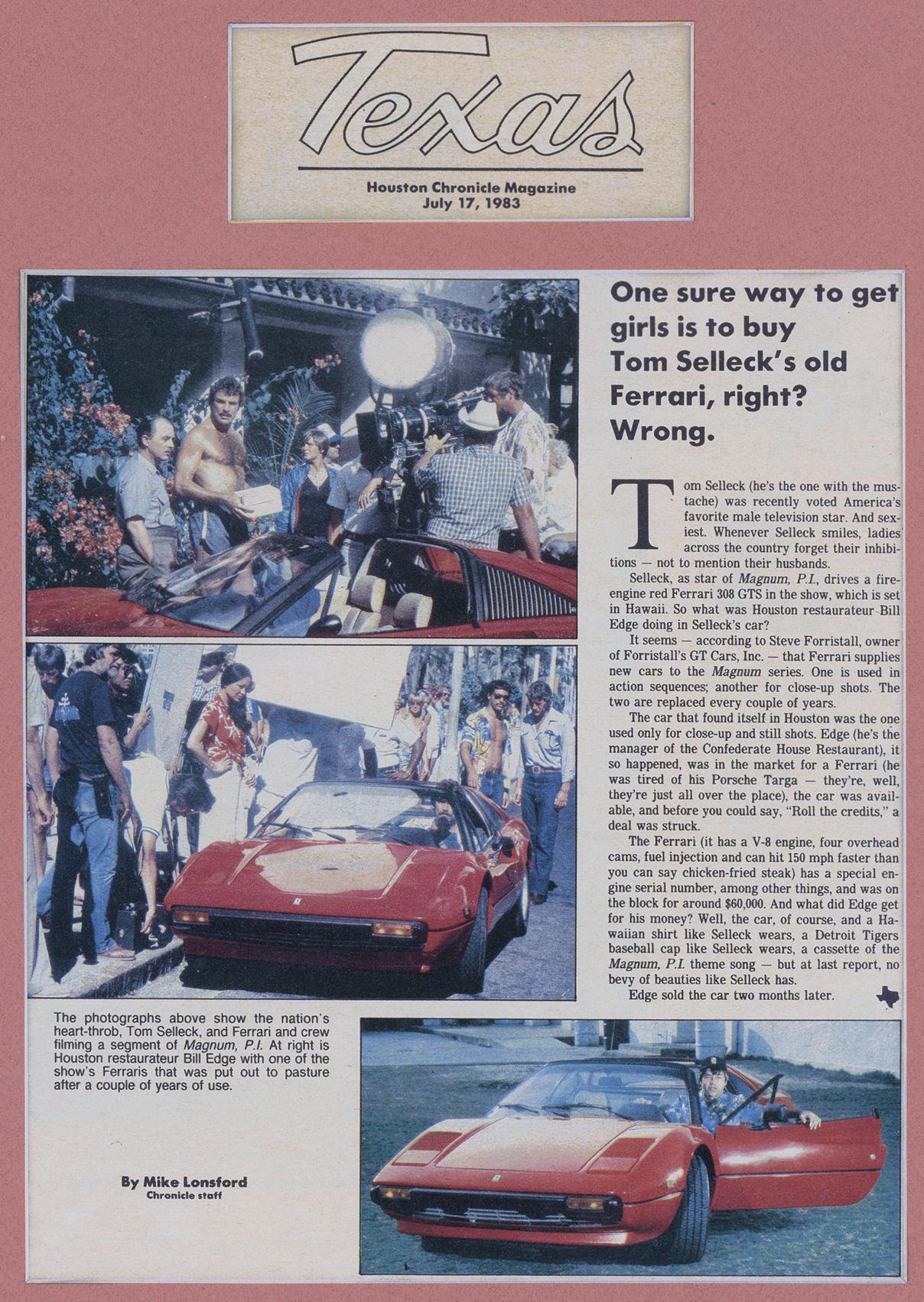 Tom Sellecks Ferrari